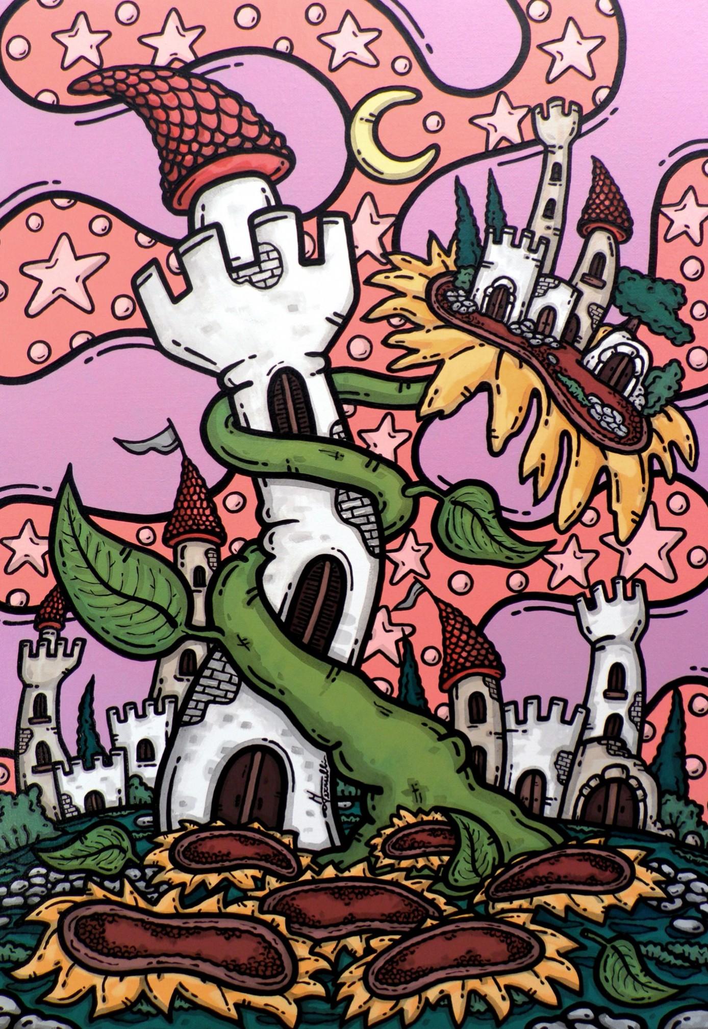 opera d'arte, contornismo metafisico, francesco ferrulli, pittore pugliese, artista italiano, arte contemporanea, dipinto, olio su tela, paesaggi pugliesi, puglia, quadro colorato, oil on canvas, art, painter, paesaggio pugliese, trulli, campagna pugliese, terra mia, girasole, castello, fiaba, luna, stelle,