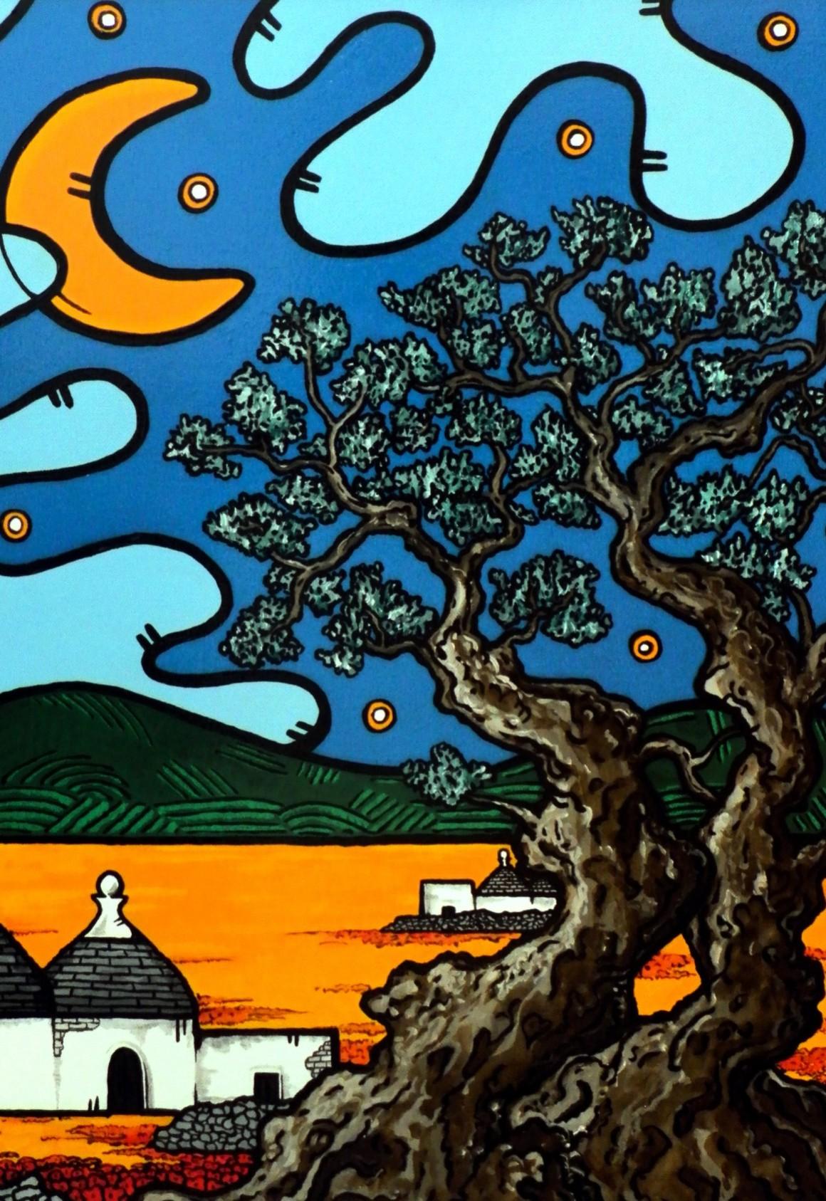 opera, contornismo metafisico, francesco ferrulli, pittore pugliese, artista italiano, arte contemporanea, dipinto, olio su tela, paesaggi pugliesi, quadri, puglia, quadro colorato, oil on canvas, art, painter, paesaggio pugliese, trulli, campagna pugliese, ulivi, fichi d'india, sognando la mia terra,