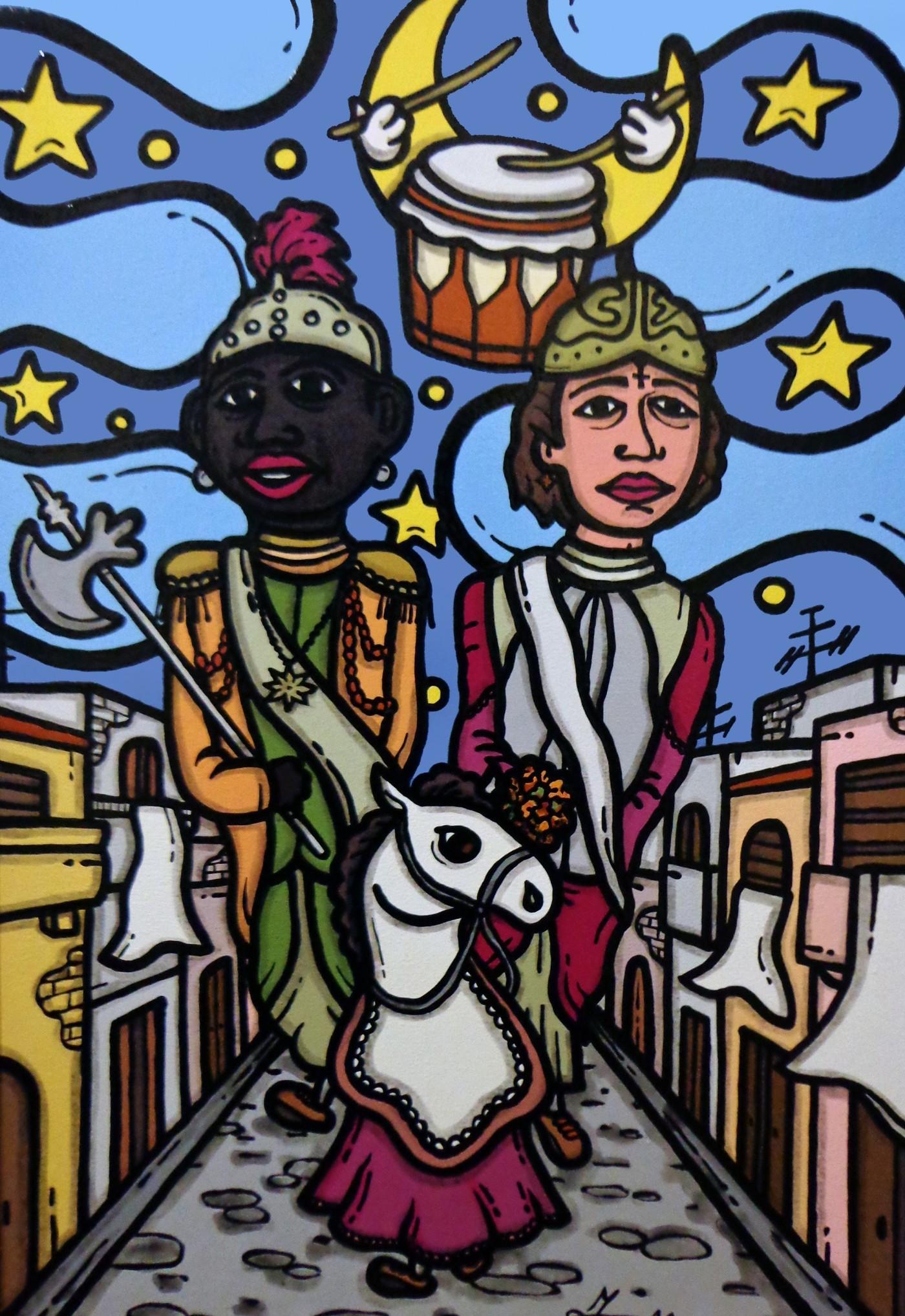 opera d'arte, contornismo metafisico, francesco ferrulli, pittore pugliese, artista italiano, arte contemporanea, dipinto, olio su tela, acrilico su tela, paesaggi calabresi, quadro colorato, oil on canvas, art, painter, ulivarella, palmi, giganti, mata e grifone, stelle, luna