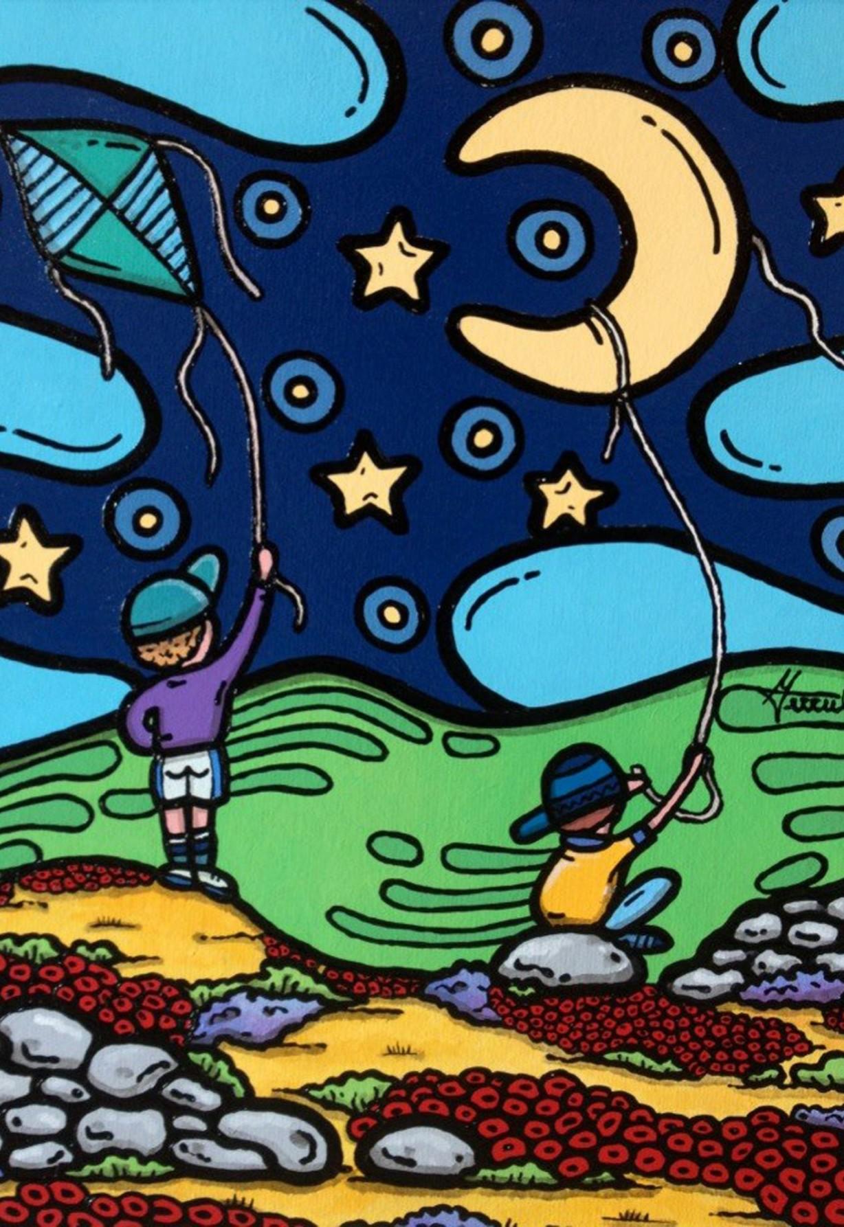 opera d'arte, contornismo metafisico, francesco ferrulli, pittore pugliese, artista italiano, arte contemporanea, dipinto, olio su tela, acrilico su tela, paesaggi pugliesi, quadro colorato, oil on canvas, art, painter, bambini, aquiloni, luna, sogni, sognando