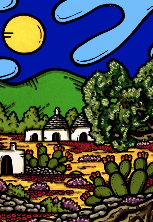 opera d'arte, contornismo metafisico, francesco ferrulli, pittore pugliese, artista italiano, arte contemporanea, dipinto, olio su tela, paesaggi pugliesi, puglia, quadri, quadro colorato, oil on canvas, art, painter, paesaggio pugliese, trulli, campagna pugliese, ulivi, fichi d'india, terra mia
