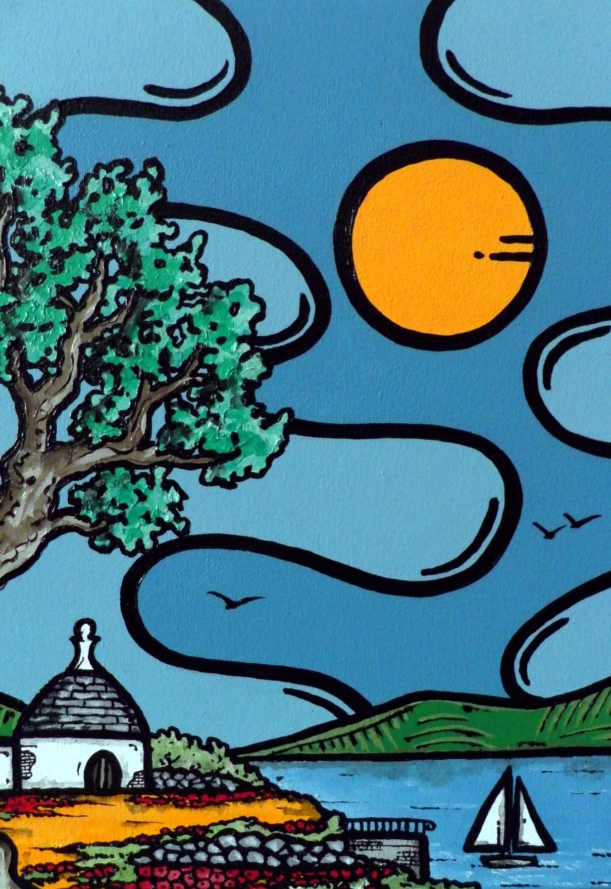 opera d'arte, contornismo metafisico, francesco ferrulli, pittore pugliese, artista italiano, arte contemporanea, dipinto, olio su tela, acrilico su tela, paesaggi pugliesi, quadro colorato, oil on canvas, art, painter, trullo, vela, mare, grano, ulivo
