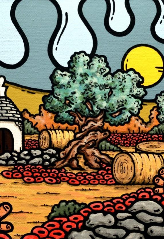 opera d'arte, contornismo metafisico, francesco ferrulli, pittore pugliese, artista italiano, arte contemporanea, dipinto, olio su tela, paesaggi pugliesi, puglia, quadri, quadro colorato, oil on canvas, art, painter, paesaggio pugliese, trulli, campagna pugliese, ulivi, muretti a secco,
