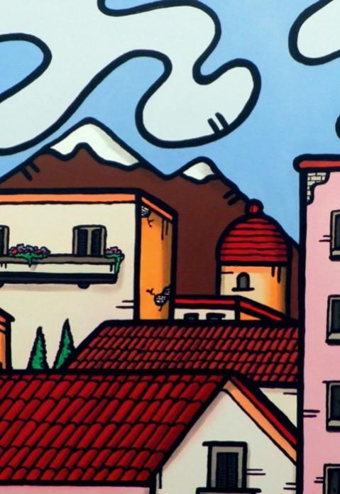 opera, contornismo metafisico, francesco ferrulli, pittore pugliese, artista italiano, arte contemporanea, dipinto, olio su tela, paesaggi pugliesi, puglia, quadro colorato, oil on canvas, art, painter, tetti in armonia,