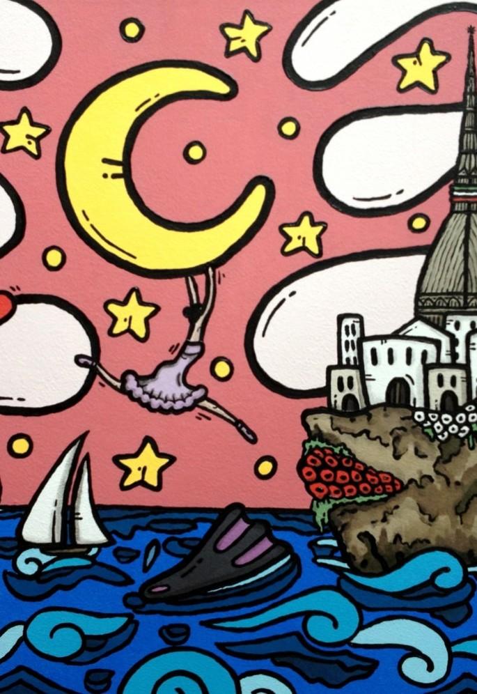 opera, contornismo metafisico, francesco ferrulli, pittore pugliese, artista italiano, arte contemporanea, dipinto, olio su tela, paesaggi pugliesi, puglia, quadro colorato, oil on canvas, art, painter, torino, mole antonelliana, danza, sub, mare, sogni,