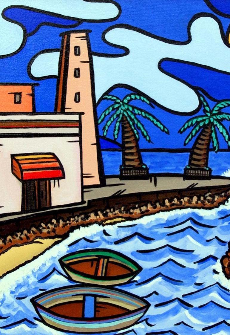 opera, contornismo metafisico, francesco ferrulli, pittore pugliese, artista italiano, arte contemporanea, dipinto, olio su tela, paesaggi pugliesi, puglia, quadro colorato, oil on canvas, art, painter, torretta sul molo, paesaggio