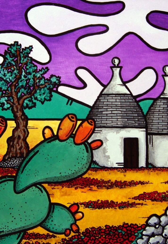 opera, contornismo metafisico, francesco ferrulli, pittore pugliese, artista italiano, arte contemporanea, dipinto, olio su tela, paesaggi pugliesi, quadri, puglia, quadro colorato, oil on canvas, art, painter, campagna pugliese, trulli, fichi d'india, ulivi, turbinio di natura,