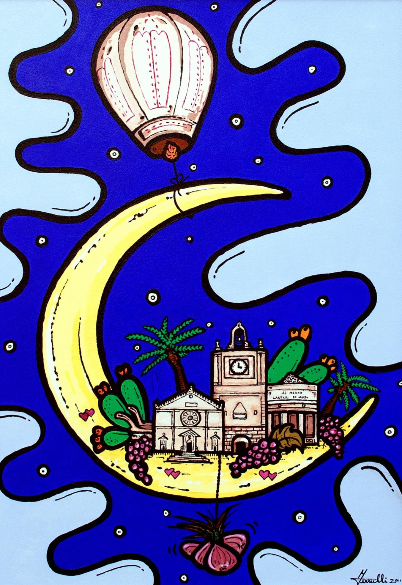 opera, contornismo metafisico, francesco ferrulli, pittore pugliese, artista italiano, arte contemporanea, dipinto, olio su tela, paesaggi pugliesi, puglia, quadro colorato, oil on canvas, art, painter, borgo a colori, acquaviva delle fonti,