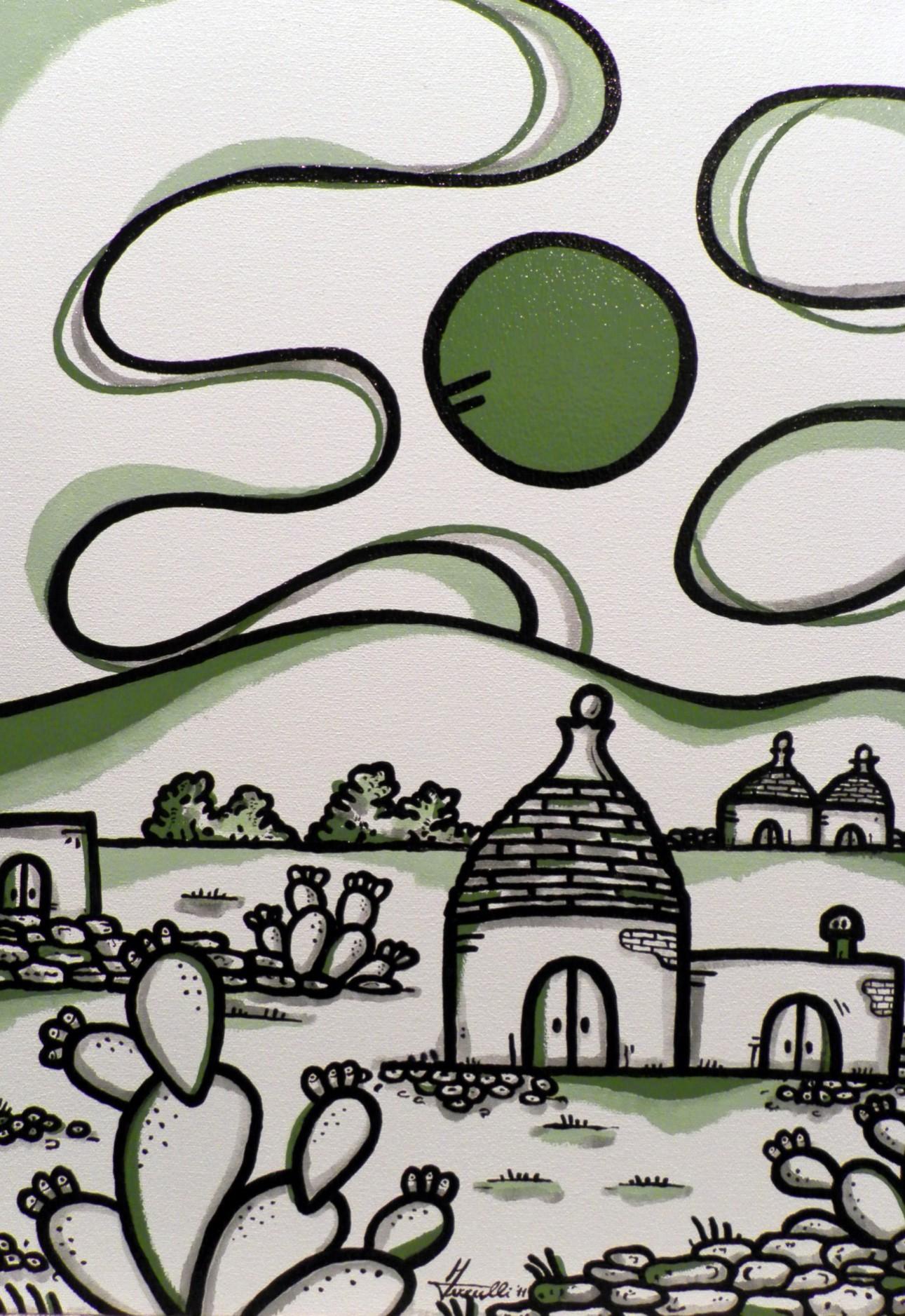 opera, contornismo metafisico, francesco ferrulli, pittore pugliese, artista italiano, arte contemporanea, dipinto, olio su tela, paesaggi pugliesi, puglia,