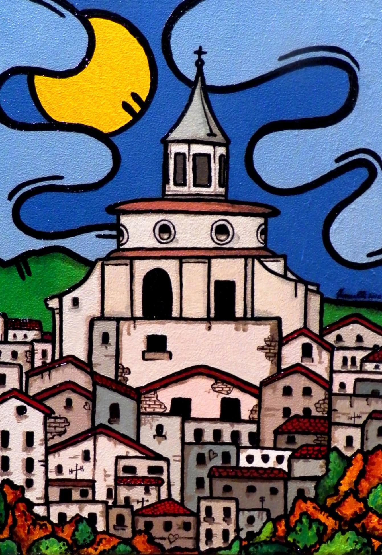 opera, contornismo metafisico, francesco ferrulli, pittore pugliese, artista italiano, arte contemporanea, dipinto, olio su tela, paesaggi pugliesi, puglia, quadro colorato, oil on canvas, art, painter, zagarolo