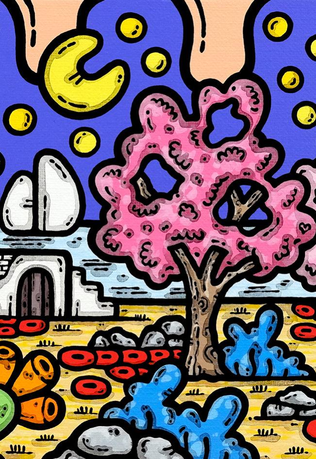 acrilico su tela, dipinto, opera d'arte, contornismo metafisico, art, francesco ferrulli, pittore, italiano, artista, italian artist, arte contemporanea, quadro, colori, paesaggio pugliese, trulli, mare, puglia, primavera, colori, fiori rosa, fiori di pesco.