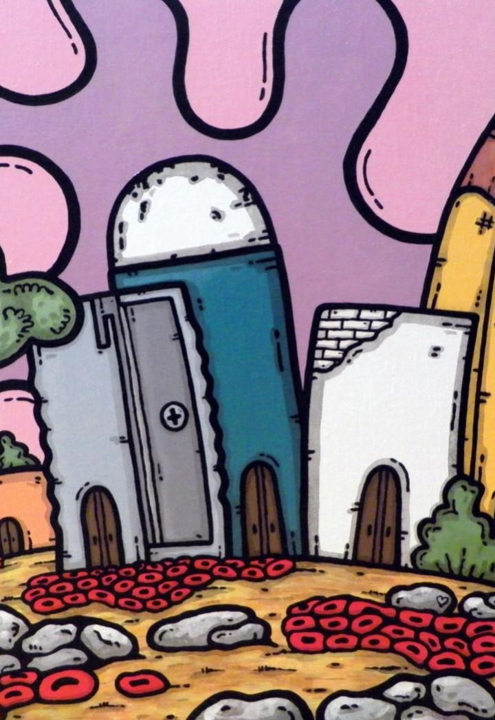 opera, contornismo metafisico, francesco ferrulli, pittore pugliese, artista italiano, arte contemporanea, dipinto, olio su tela, paesaggi pugliesi, puglia, quadro colorato, oil on canvas, art, painter, città d'arte,