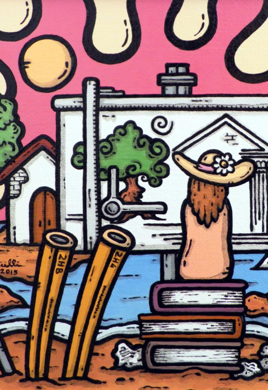 opera, contornismo metafisico, francesco ferrulli, pittore pugliese, artista italiano, arte contemporanea, dipinto, olio su tela, paesaggi pugliesi, puglia, quadro colorato, oil on canvas, art, painter, progettando sogni,