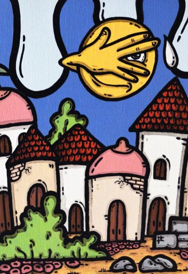 opera, contornismo metafisico, francesco ferrulli, pittore pugliese, artista italiano, arte contemporanea, dipinto, olio su tela, paesaggi pugliesi, puglia, quadro colorato, oil on canvas, art, painter, tetti abusivi,