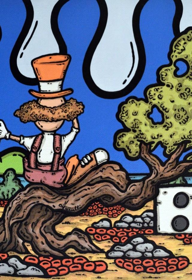 opera, contornismo metafisico, francesco ferrulli, pittore pugliese, artista italiano, arte contemporanea, dipinto, olio su tela, paesaggi pugliesi, puglia, quadro colorato, oil on canvas, art, painter, ulivo, clown, moon, sorte gioconda