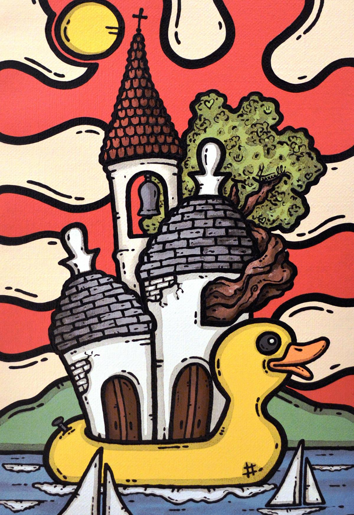 opera, quadri, contornismo metafisico, francesco ferrulli, pittore pugliese, artista italiano, arte contemporanea, dipinto, olio su tela, paesaggi pugliesi, puglia, anamnesi d'infante, trullo, quadro colorato, paperella