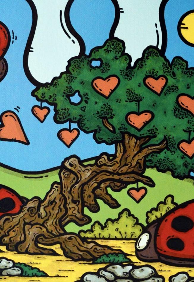 opera d'arte, contornismo metafisico, francesco ferrulli, pittore pugliese, artista italiano, arte contemporanea, dipinto, olio su tela, paesaggi pugliesi, puglia, quadro colorato, oil on canvas, art, painter, ulivo, coccinelle, nuvole, cuori,