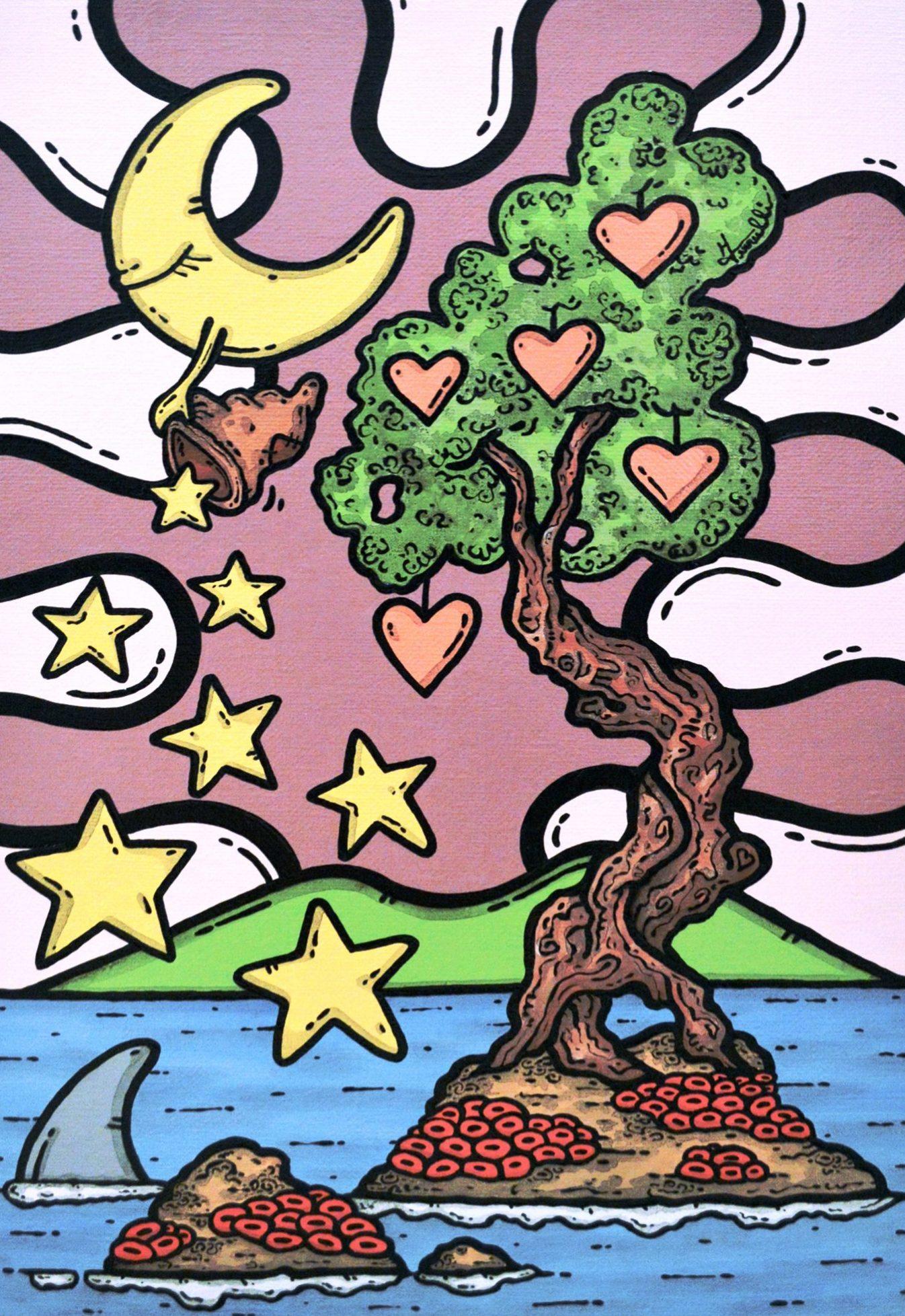 opera d'arte, contornismo metafisico, francesco ferrulli, pittore pugliese, artista italiano, arte contemporanea, dipinto, olio su tela, paesaggi pugliesi, puglia, quadro colorato, oil on canvas, art, painter, quadri, stelle, luna, seminando sogni, ulivo, cuori, nuvole