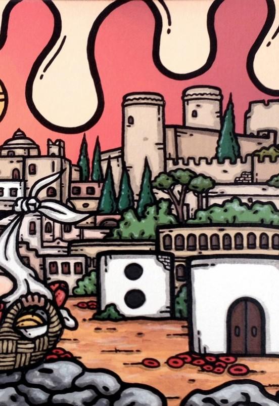 opera d'arte, contornismo metafisico, francesco ferrulli, pittore pugliese, artista italiano, arte contemporanea, dipinto, olio su tela, paesaggi pugliesi, puglia, quadro colorato, oil on canvas, art, painter, quadri, castello, oria, brindisi, campagna pugliese, tulipani, nascita, dadi, cicogna,