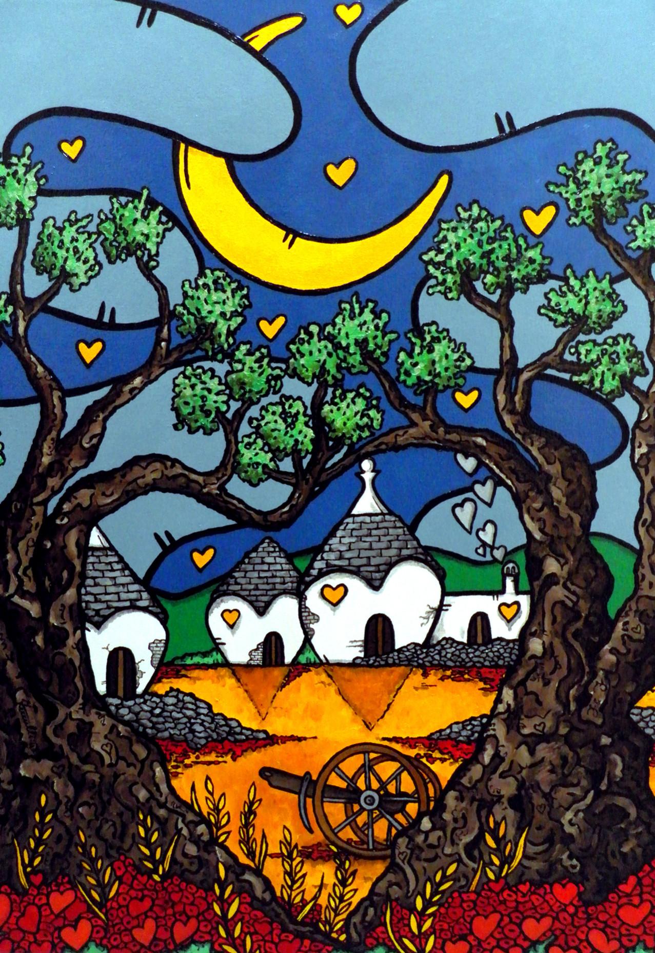 opera d'arte, contornismo metafisico, francesco ferrulli, pittore pugliese, artista italiano, arte contemporanea, dipinto, olio su tela, paesaggi pugliesi, puglia, quadro colorato, oil on canvas, art, painter, luna, ulivo, cuori, nuvole, trulli, naturalmente amore