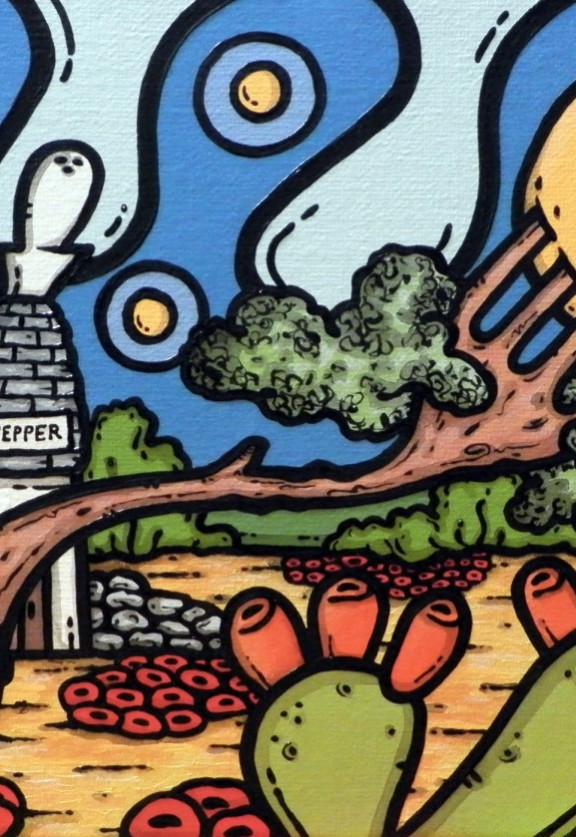 opera d'arte, contornismo metafisico, francesco ferrulli, pittore pugliese, artista italiano, arte contemporanea, dipinto, olio su tela, paesaggi pugliesi, puglia, quadro colorato, oil on canvas, art, painter, quadri, ulivo, forchetta, sale e pepe, campagna pugliese, luna, notte magnanima
