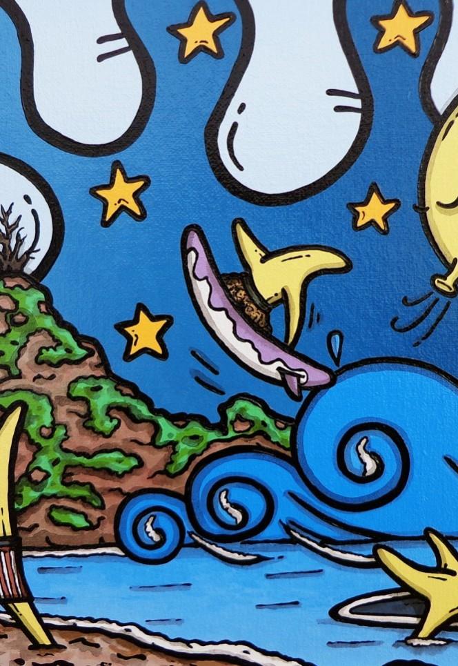 opera d'arte, contornismo metafisico, francesco ferrulli, pittore pugliese, artista italiano, arte contemporanea, dipinto, olio su tela, paesaggi, calabria, quadro colorato, oil on canvas, art, painter, stelle gioconde, surf, quadri, palmi, ulivarella, ulivo, scoglio