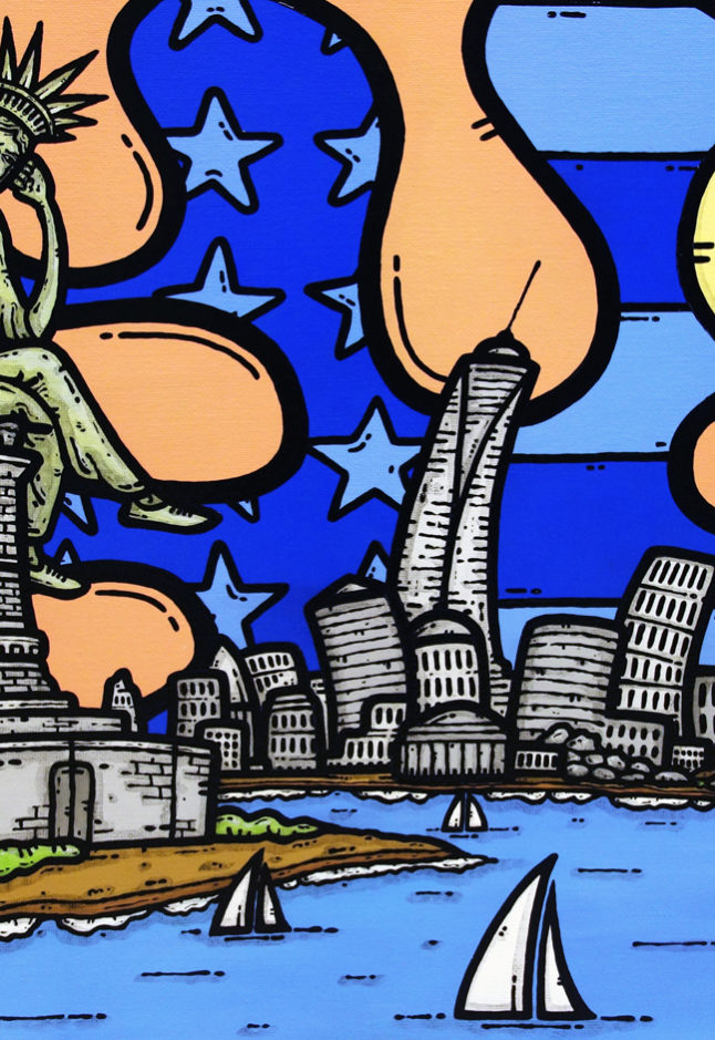 opera d'arte, contornismo metafisico, francesco ferrulli, pittore pugliese, artista italiano, arte contemporanea, dipinto, olio su tela, puglia, quadro colorato, oil on canvas, art, painter, quadri, stelle, luna, nyc, manhattan, america, usa, ulivo, trullo, nuvole, statua della libertà