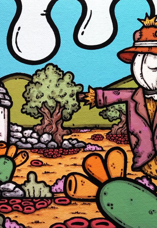 opera d'arte, contornismo metafisico, francesco ferrulli, pittore pugliese, artista italiano, arte contemporanea, dipinto, olio su tela, paesaggio pugliese, campagna, puglia, quadro colorato, oil on canvas, art, painter, quadri, ulivi, trullo, nuvole, fichi d'india, cuori, spaventapasseri, guardiano innamorato, italian artist,