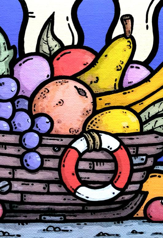 opera d'arte, contornismo metafisico, francesco ferrulli, pittore pugliese, artista italiano, arte contemporanea, dipinto, olio su tela, paesaggio pugliese, campagna, puglia, quadro colorato, oil on canvas, art, paniere, quadri, ulivo, trulli, nuvole, frutta, non tutte le nature muoiono, italian artist, natura morta, luna, barchetta, salvagente, colore,