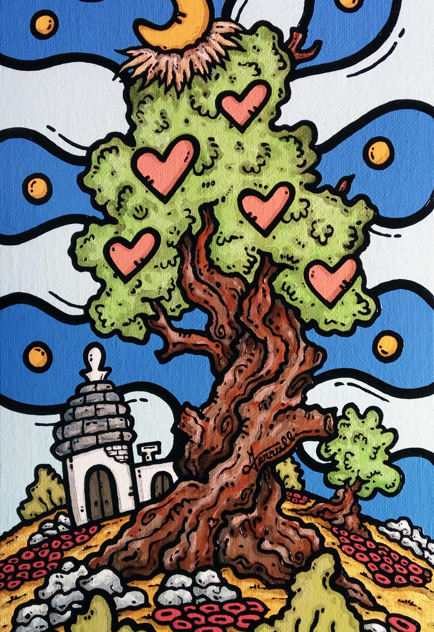 opera d'arte, contornismo metafisico, francesco ferrulli, pittore pugliese, artista italiano, arte contemporanea, dipinto, olio su tela, paesaggio pugliese, campagna, puglia, quadro colorato, oil on canvas, art, painter, quadri, ulivo, trulli, nuvole, cuori, vizi al crepuscolo, italian artist, luna,