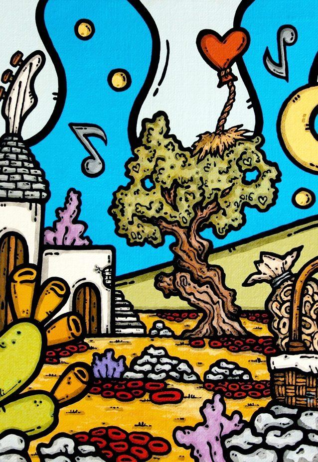 opera d'arte, contornismo metafisico, francesco ferrulli, pittore pugliese, artista italiano, arte contemporanea, dipinto, olio su tela, paesaggio pugliese, campagna, puglia, quadro colorato, oil on canvas, art, painter, quadri, ulivi, trulli, nuvole, cuore, passioni sonore, italian artist, luna, basso, taralli, note musicali, fichi d'india