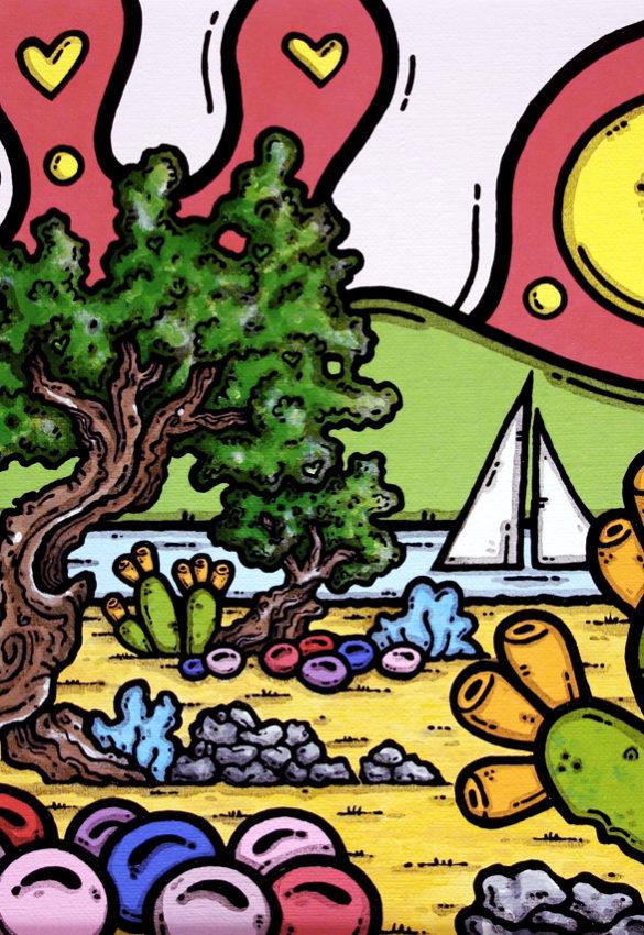 opera d'arte, contornismo metafisico, ferrulli, pittore, artista, pugliese, italiano, contemporaneo, famoso, arte contemporanea, dipinto, olio su tela, paesaggi pugliesi, campagna, puglia, quadro colorato, oil on canvas, art, painter, quadro, ulivo, trullo, nuvole, aldiqua del fiume, italian artist, luna, cuori, fichi d'india