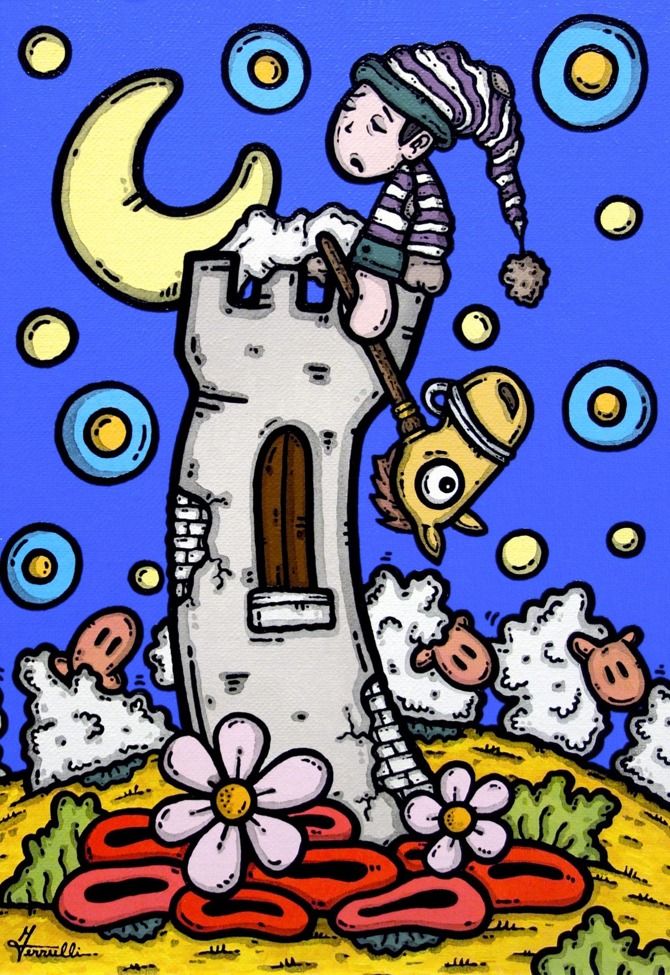 opera d'arte, contornismo metafisico, francesco ferrulli, pittore, artista, pugliese, italiano, arte contemporanea, dipinto, olio su tela, puglia, quadro colorato, oil on canvas, art, painter, quadri, pecorelle, nuvole, sogni, notti insogni, italian artist, luna, torre, stelle, nuvole, bimbo, notte, cavallo