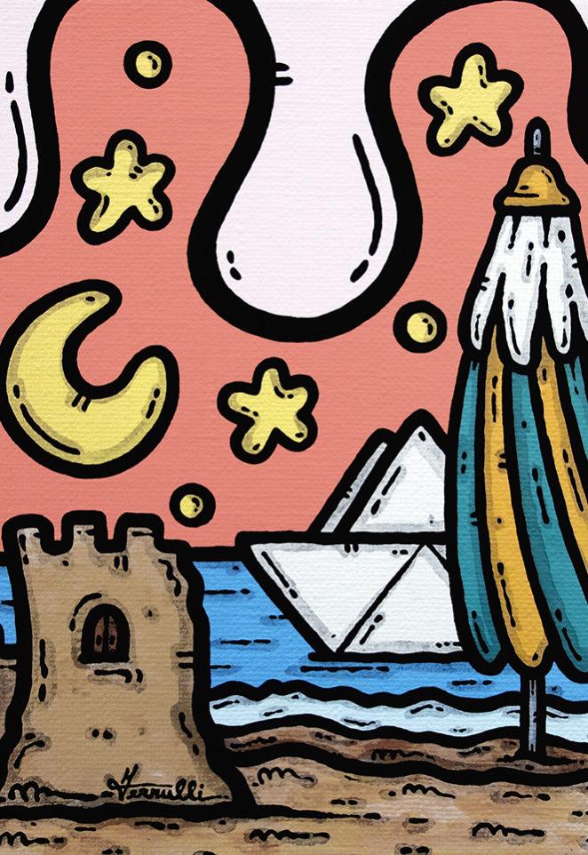 opera d'arte, contornismo metafisico, francesco ferrulli, pittore, artista, pugliese, italiano, contemporaneo, arte contemporanea, dipinto, acrilico su tela, paesaggi pugliesi, puglia, quadro colorato, acrylic, art, painter, quadro, nuvole, italian artist, luna, amore, castello di sabbia, ombrellone, brezza d'amare, mare, cuore, notte, puglia.
