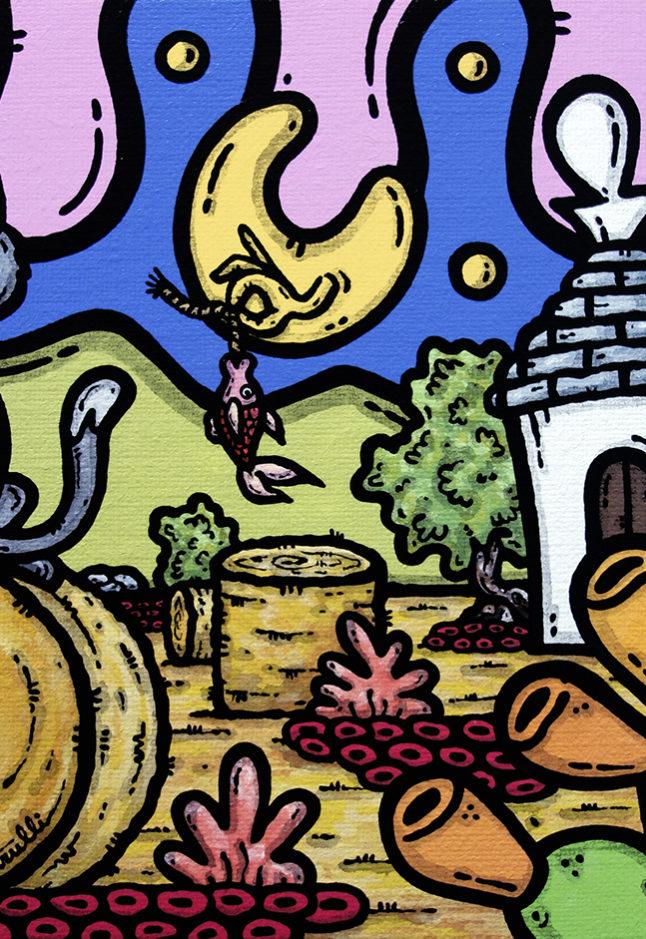 opera d'arte, contornismo metafisico, francesco ferrulli, pittore, artista, pugliese, italiano, contemporaneo, arte contemporanea, dipinto, acrilico su tela, paesaggio, campagna, puglia, quadro colorato, acrylic, art, painter, quadro, nuvole, italian artist, luna, gatto, bella stronza, fish, notte, fichi d'india, trulli.
