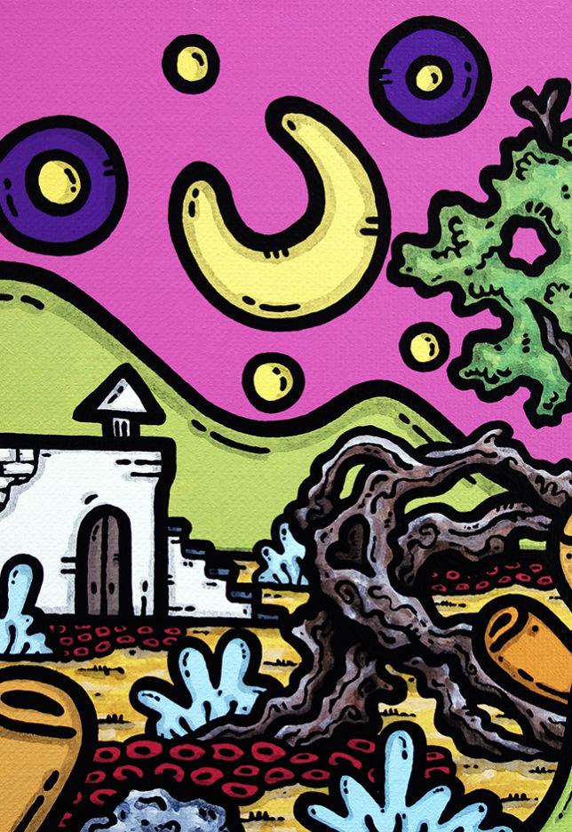 opera d'arte, contornismo metafisico, francesco ferrulli, pittore, artista, pugliese, italiano, contemporaneo, arte contemporanea, dipinto, acrilico su tela, paesaggio, campagna, puglia, quadro colorato, acrylic, art, painter, quadro, nuvole, italian artist, luna, stelle, come d'incanto, notte, trulli, ulivo, fichi d'india.