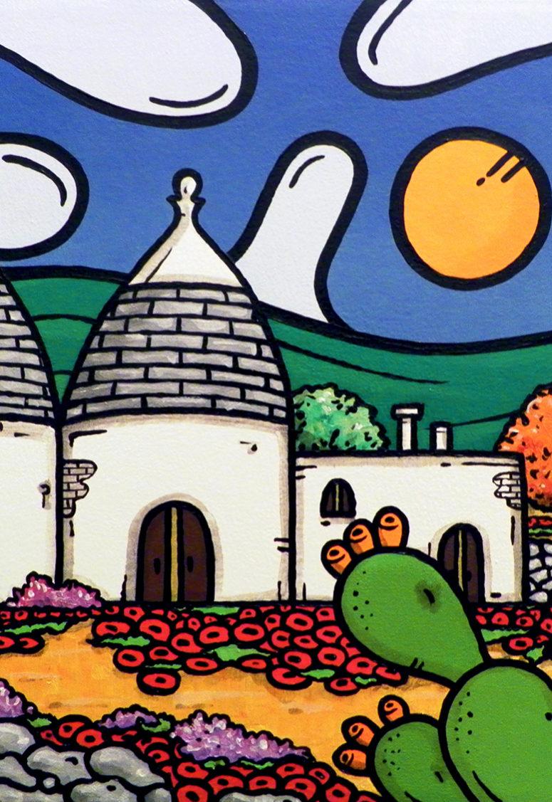 opera d'arte, contornismo metafisico, francesco ferrulli, pittore, pugliese, artista italiano, arte contemporanea, dipinto, olio su tela, paesaggi pugliesi, quadri, puglia, quadro colorato, oil on canvas, art, painter, paesaggio pugliese, trulli, campagna pugliese, ulivi, fichi d'india, muretti a secco, papaveri.