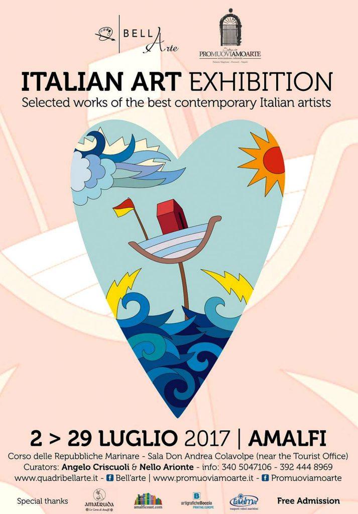 italian art exhibition, amalfi, mostra, artisti, contemporanei, italiani, famosi, pittori, ferrulli, palumbo, sansavini, donzelli, cianci, quadri, paesaggi fiabeschi, contornismo metafisico, art.