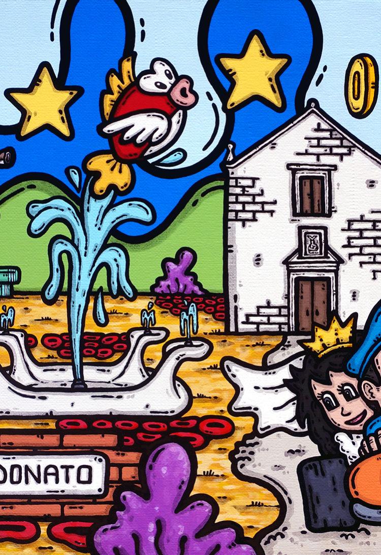 opera, contornismo metafisico, francesco ferrulli, pittore, artista, italiano, arte contemporanea, dipinto, acrilico su tela, paesaggio pugliese, puglia, quadro colorato, acrylic on canvas, art, painter, matrimonio pugliese, trulli, chiesa, ulivi, sposi, Peach, super Mario bros, the next level.