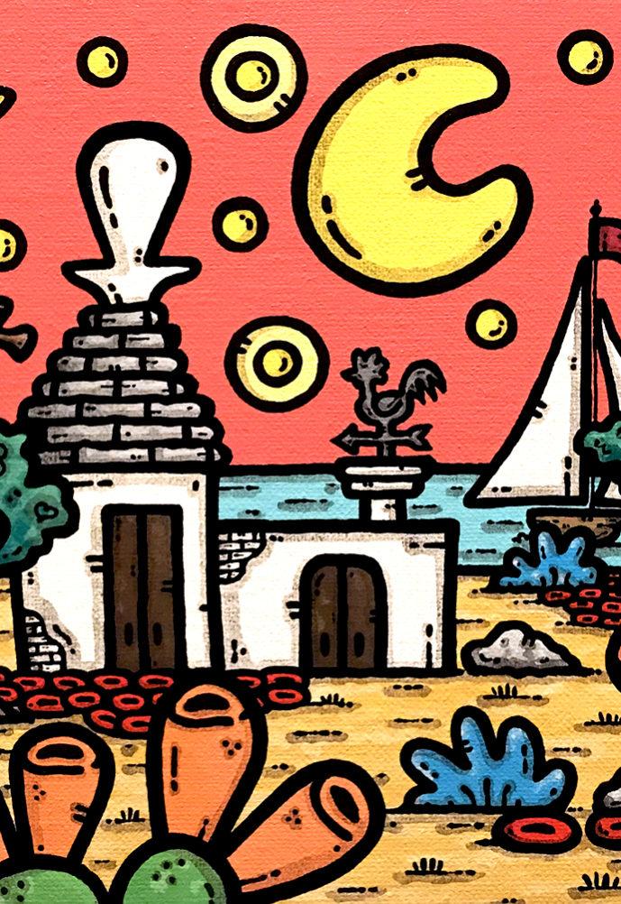 opera, contornismo metafisico, francesco ferrulli, pittore, artista, italiano, arte contemporanea, dipinto, acrilico su tela, paesaggio pugliese, puglia, quadro colorato, acrylic on canvas, art, painter, campagna pugliese, fichi d'india, trulli, ulivi, vele, stelle, luna, vento di passione.