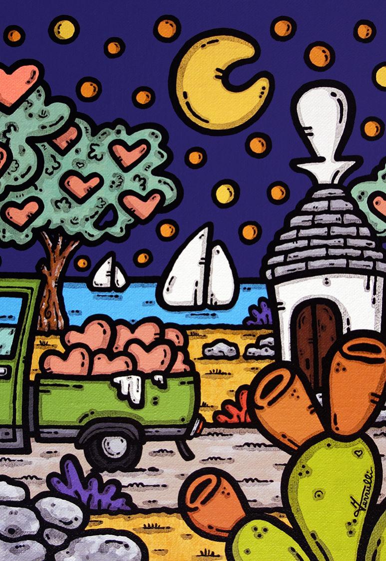 opera, contornismo metafisico, francesco ferrulli, pittore, artista, italiano, arte contemporanea, dipinto, acrilico su tela, paesaggio pugliese, quadro colorato, acrylic on canvas, art, painter, campagna pugliese, fichi d'india, trulli, ulivi, cuori, stelle, luna, vele, ape, tre ruote, carico di meraviglia.