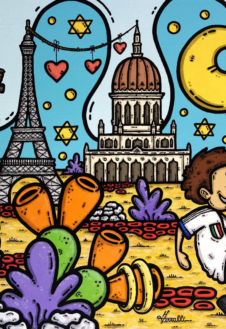 opera, contornismo metafisico, ferrulli francesco, pittore, artista, italiano, arte contemporanea, dipinto, acrilico su tela, paesaggio, quadro colorato, acrylic on canvas, art, painter, parigi, tour eiffel, sicilia, agrumi, israele, haifa, bahai, mausoleo, bàb, calcio, trinacria, luna, c'est l'amour.