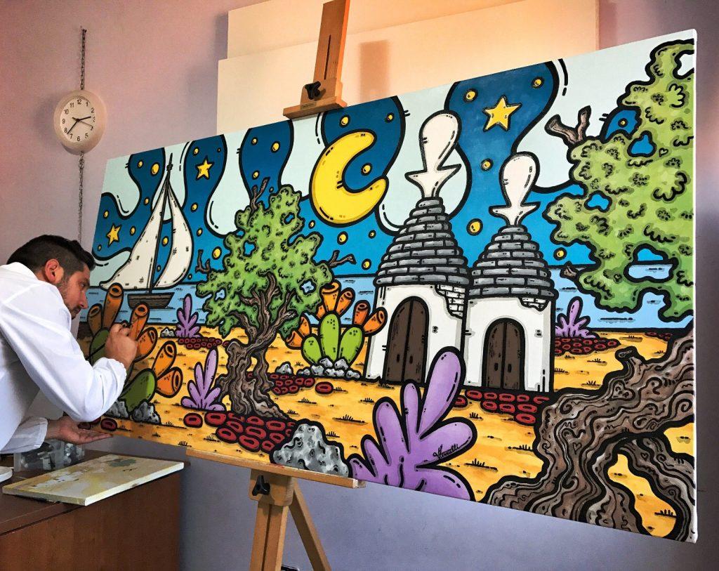 opera d'arte, contornismo metafisico, francesco ferrulli, pittore, pugliese, artista, italiano, arte contemporanea, dipinto, olio su tela, acrilico su tela, paesaggi pugliesi, quadri colorati, art, maestro, colore, painter, bottega.