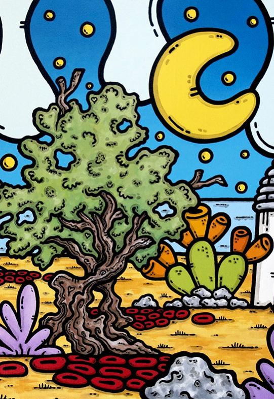 opera, contornismo metafisico, francesco ferrulli, pittore, artista, italiano, arte contemporanea, dipinto, olio su tela, paesaggio pugliese, quadro colorato, oil on canvas, art, painter, campagna pugliese, fichi d'india, trulli, ulivi, vele, stelle, luna, puglia in love.