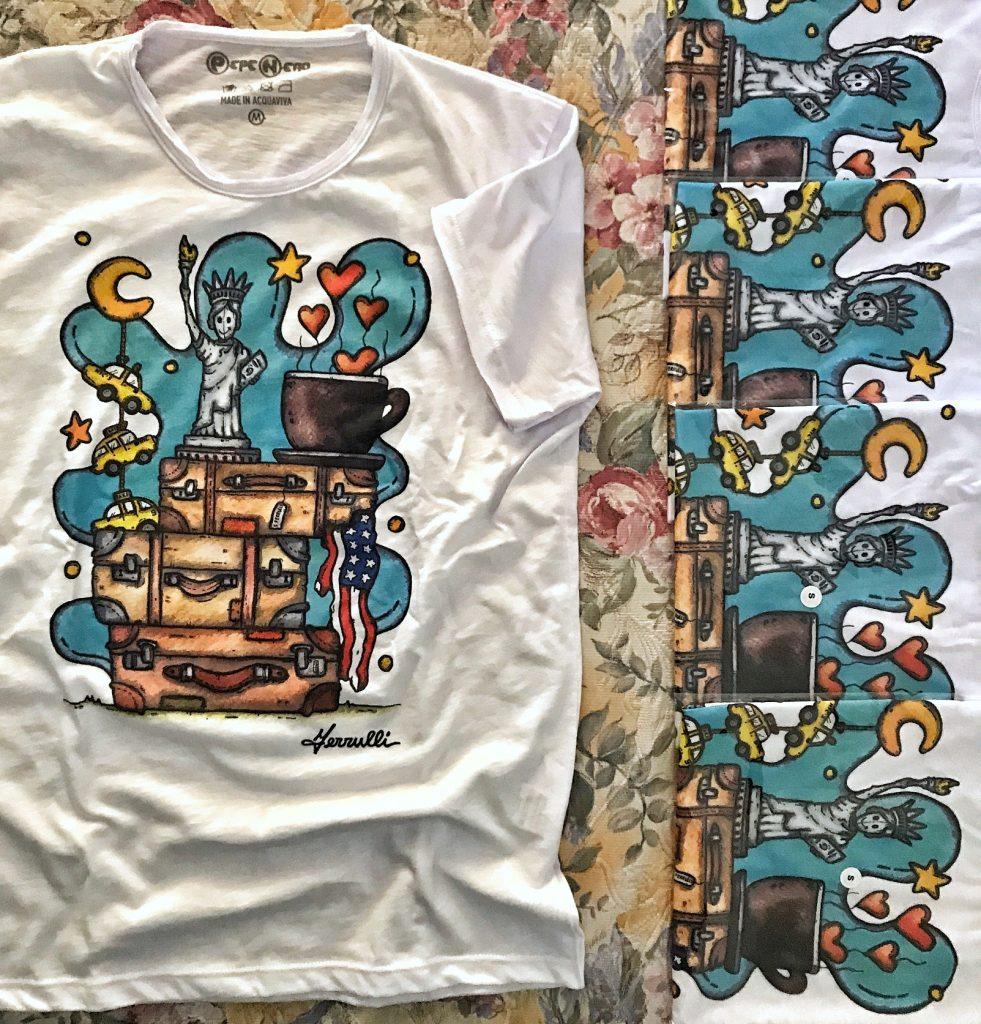 maglia, francesco ferrulli, stampa, contornismo metafisico, pittore, maglietta, artista, italiano, pugliese, nuvole, arte, valigie, caffè, america, statua della libertà, ny, t-shirt, fashion, style, original, made in italy, american dream, colore.