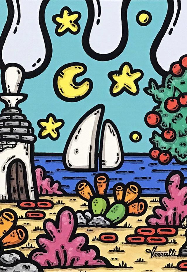 opera, contornismo metafisico, francesco ferrulli, pittore, artista, italiano, arte contemporanea, dipinto, acrilico su tela, paesaggio pugliese, quadro colorato, acrylic on canvas, art, painter, campagna pugliese, fichi d'india, trulli, stelle, luna, vele, ciliegie, cagnolino, il principe stellare.