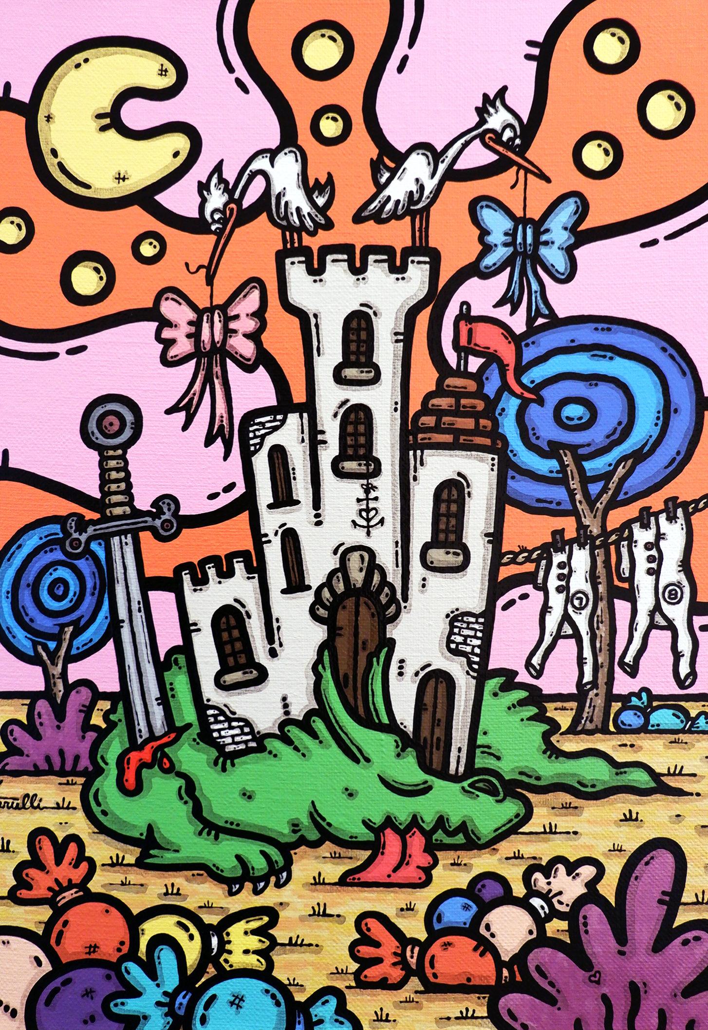 opera, contornismo metafisico, francesco ferrulli, pittore, artista, italiano, arte contemporanea, dipinto, acrilico su tela, quadro colorato, acrylic on canvas, art, painter, dolci, drago, cicogne, castello, dulcis in fundo.