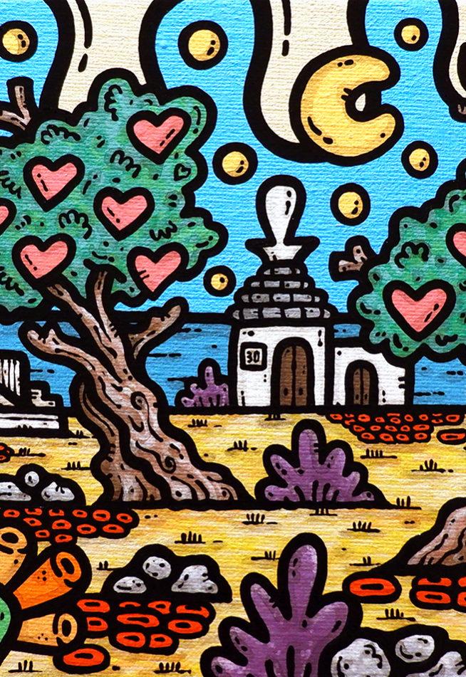 opera, contornismo metafisico, francesco ferrulli, pittore, artista, italiano, arte contemporanea, dipinto, acrilico su tela, quadro colorato, acrylic on canvas, art, painter, sicilia, puglia, agrigento, templi, trullo, famiglia, ulivi.