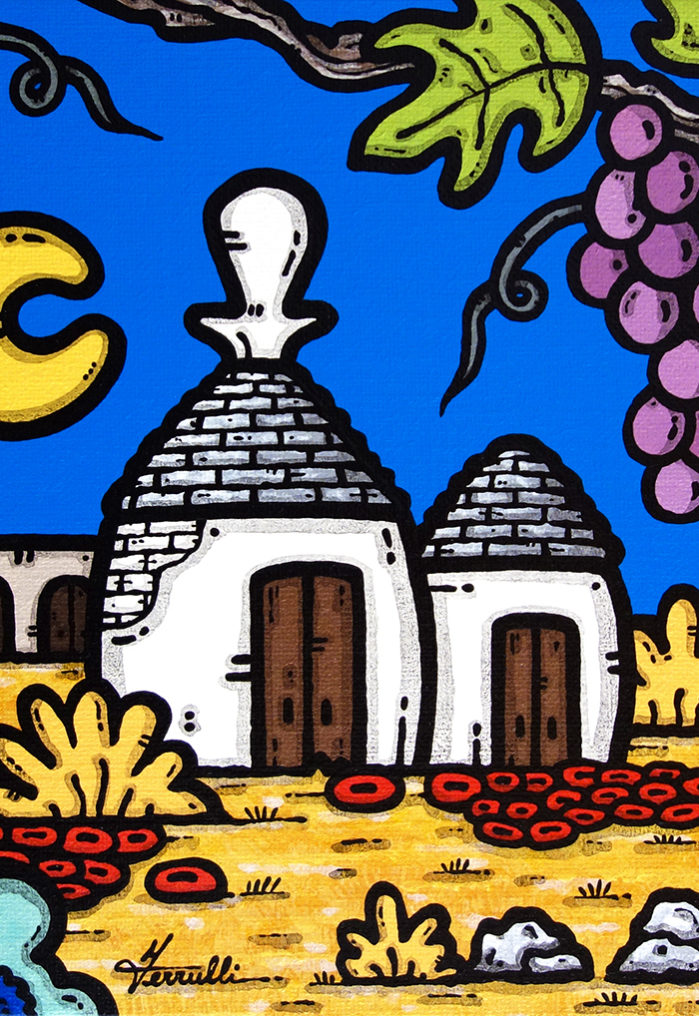 opera, contornismo metafisico, francesco ferrulli, pittore, artista, italiano, arte contemporanea, dipinto, acrilico su tela, quadro colorato, acrylic on canvas, art, painter, puglia, trulli, campagna, uva, vigna, domattina si vendemmia.