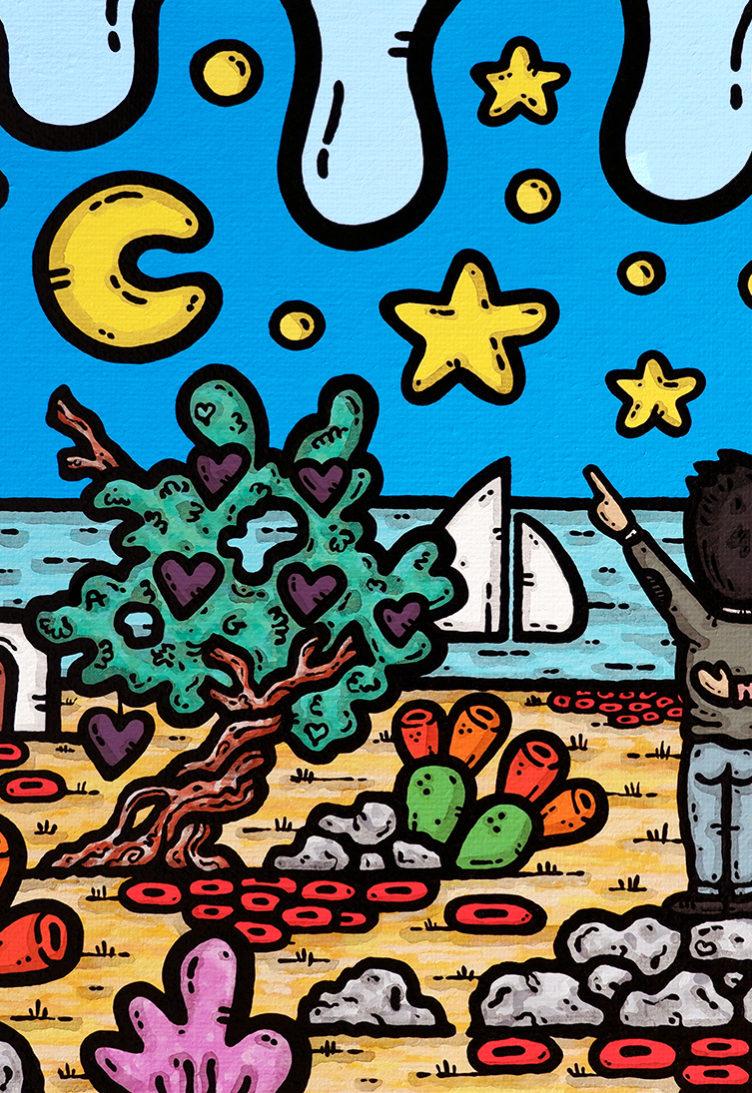 opera, contornismo metafisico, francesco ferrulli, pittore, artista, italiano, arte contemporanea, dipinto, acrilico su tela, paesaggio pugliese, quadro colorato, acrylic on canvas, art, painter, campagna pugliese, innamorati, matrimonio, ulivo, fichi d'india, trullo, stelle, luna, vele, la nostra stella.